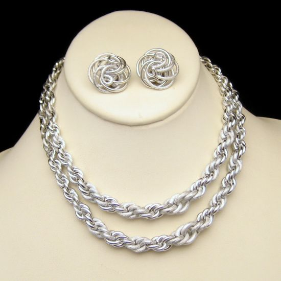 Vintage West Germany Aluminum Twisted Rope Necklace Set