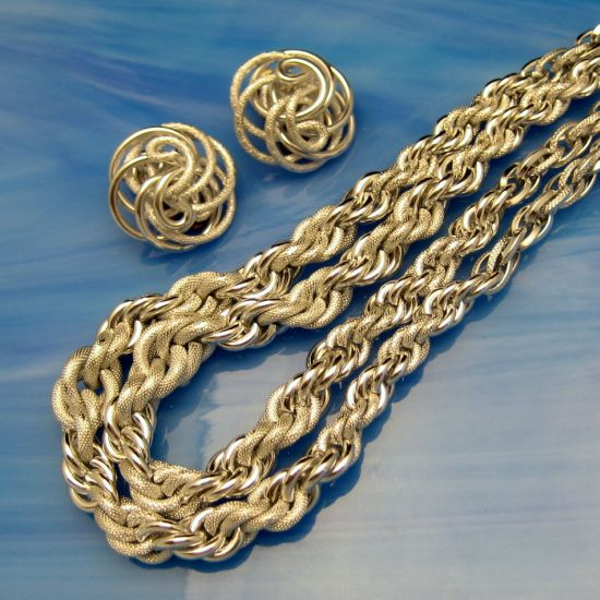 West Germany Aluminum Twisted Rope Set Closeup 4
