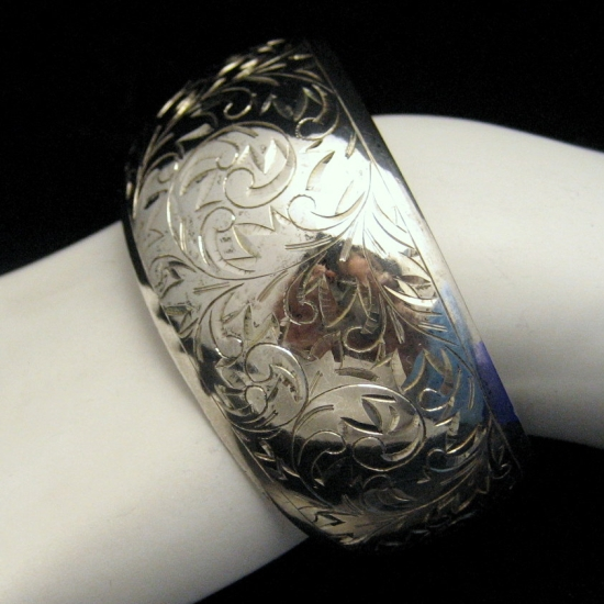 Signed SILVER Vintage Extra Wide Cuff Bangle Bracelet Engaved Flowers Sterling