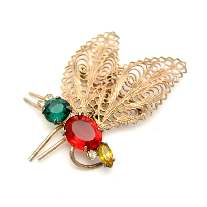 CORO STERLING Silver Gold Vermeil Large Moth Dragonfly Butterfly Brooch Pin