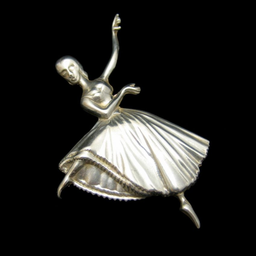 LANG STERLING Silver Vintage Ballerina Ballet Dancer Brooch Pin Figural Detailed | EBay