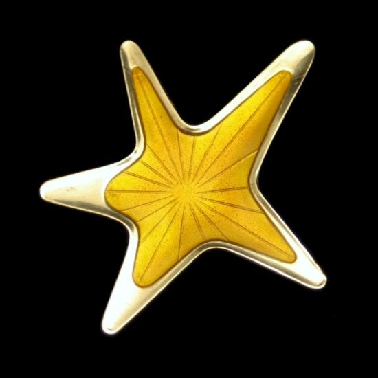 MEKA STERLING DENMARK Vintage Modernist Yellow Enamel Star Brooch Pin