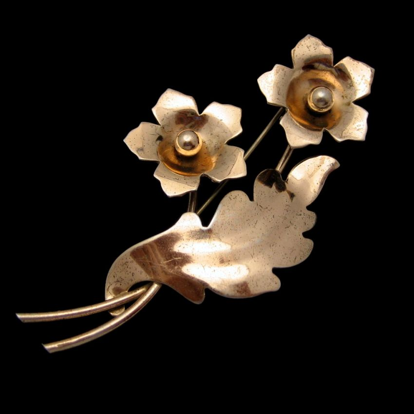 NAPIER STERLING 1940s Vintage Brooch Pin Large Flower Rose Gold Vermeil