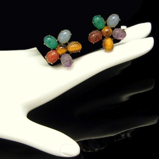 SYMMETALIC STERLING Vintage Gemstone Egyptian Scarab Earrings Silver Gold Filled