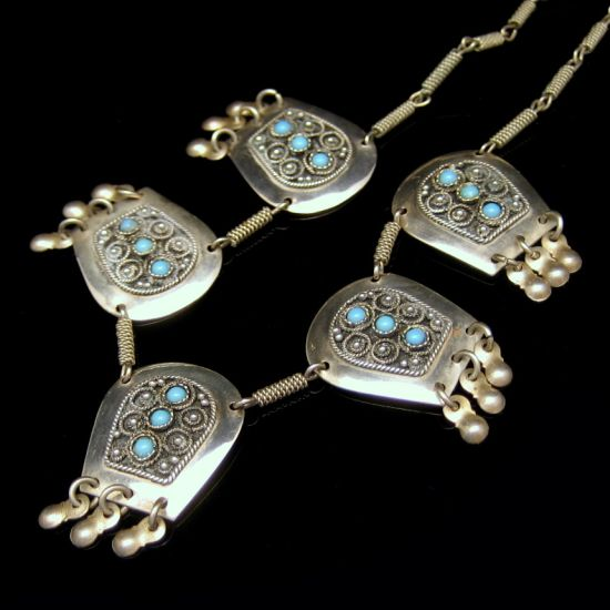 Israel 925 Sterling Silver Vintage Necklace Turquoise Beads Mid Century Ornate