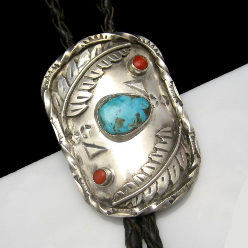 Sterling Silver Turquoise Coral Large Bolo Leather Tie Medallion Vintage Signed