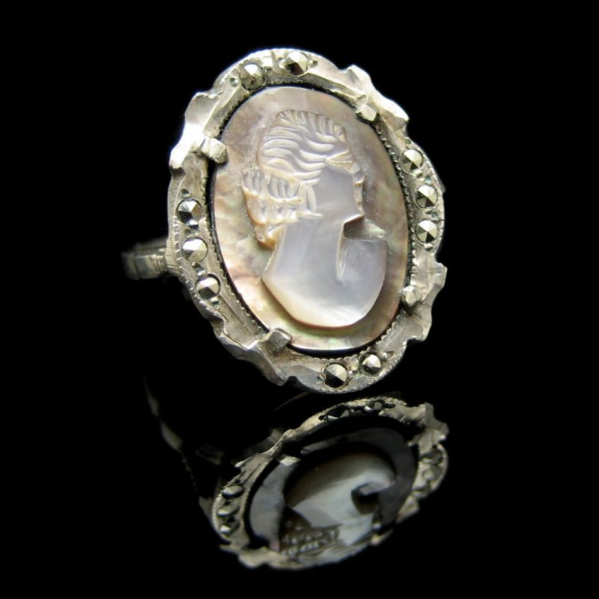 830 silver carved shell abalone marcasites cameo ring