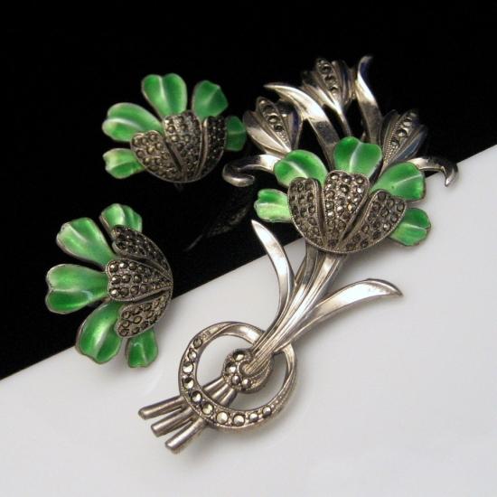 STERLING Silver Vintage Brooch Pin Earrings Set Green Enamel Flowers Marcasites