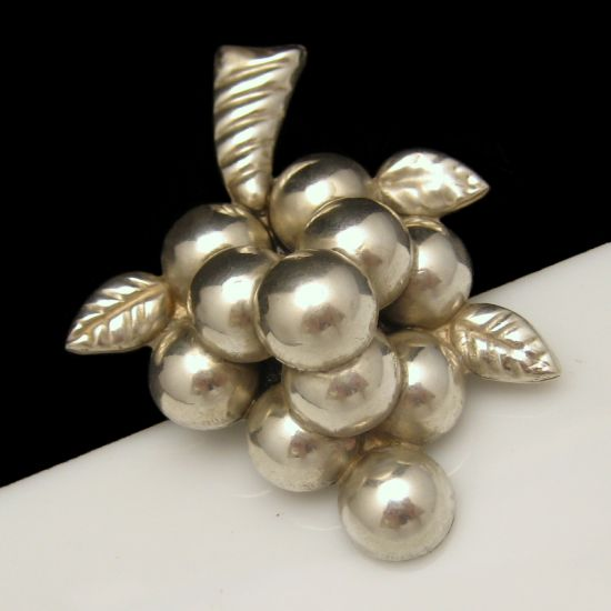 Vintage Early 40's MEXICO Sterling Silver Large Grapes Cluster Brooch from myclassicjewelry.com
