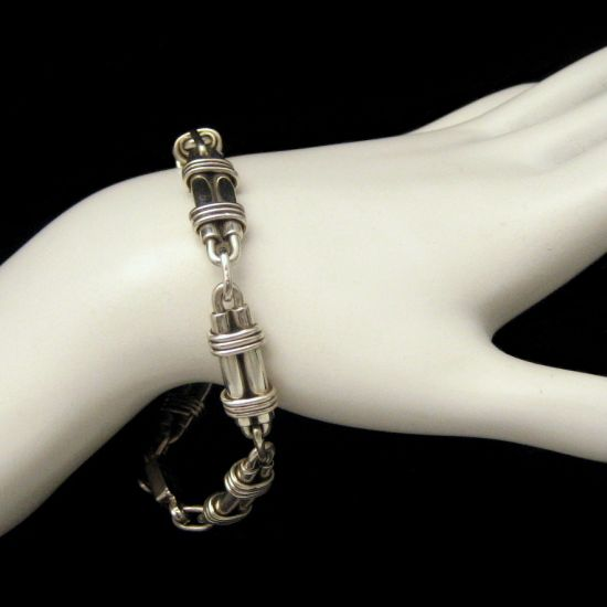 TAXCO MEXICO Vintage Sterling Industrial Modernist Bracelet from myclassicjewelry.com