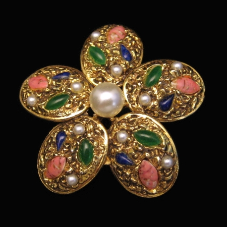 FLORENZA Vintage Brooch Pin Large Flower Goldtone Art Glass Faux Pearls