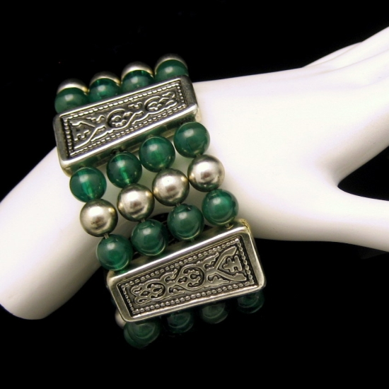 Vintage Extra Wide 4 Strand Egyptian Bracelet Green Lucite Beads Engraved Panels