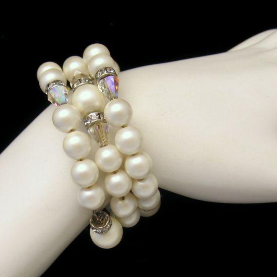 Vintage Bracelet Gorgeous Faux Pearl Rhinestone Rondelle AB Crystals