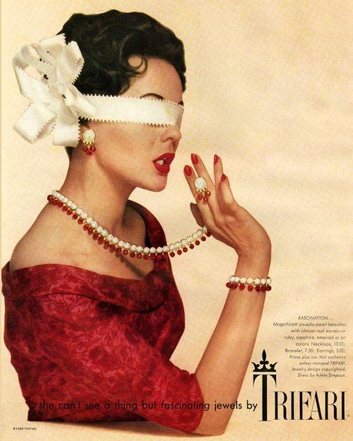 Trifari Vintage Jewelry 1958 Fascination Ad