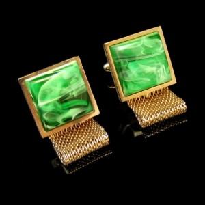 DANTE Vintage Mens Cuff Links Mid Century Mesh Wrap Around Green Swirl Stones Goldtone