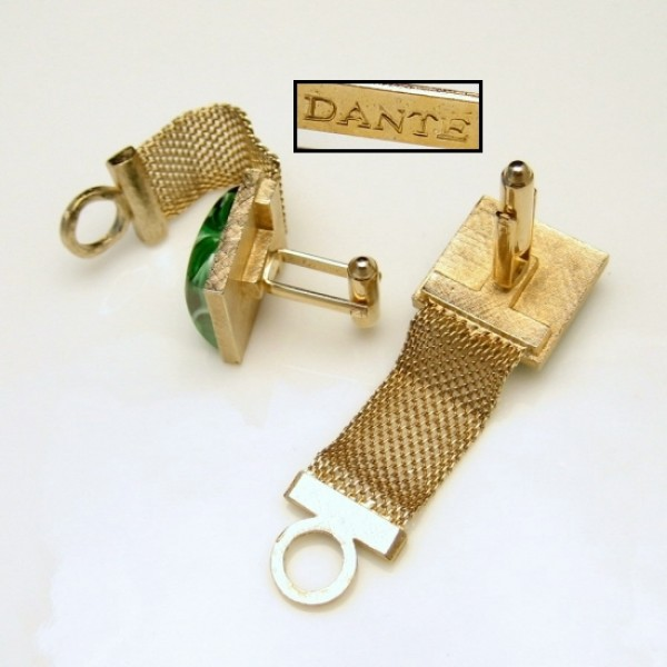Dante Vintage Mens Cuff Links Mid Century Mesh Wrap Around