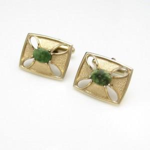 Vintage Mens Cufflinks Mid Century Jade Stones Goldtone Rectangles Cutouts Unique Design