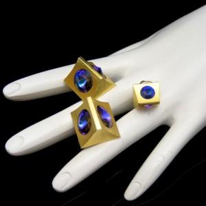 Vintage Cuff Links Tie Tack Mid Century Modern Rivoli Rhinestones Blue Purple