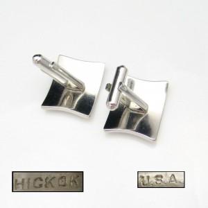 HICKOK Vintage Mens Cuff Links Cufflinks Mid Century Modernist Silvertone Rectangles