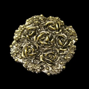 Lewis 1975 Art Nouveau Style Vintage Belt Buckle Antiqued Goldtone Roses