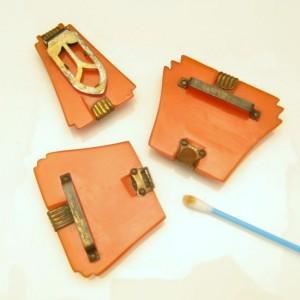 Art Deco Carved Orange Bakelite Vintage Belt Buckle Dress Clip Set Brass Trim
