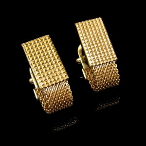 Vintage Mens Cuff Links Cufflinks Mid Century Gold Plated Mesh Faceted Textured Patented