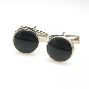 Art Deco Style Vintage Mens Cuff Links Mid Century Black Faux Onyx Silvertone Classic