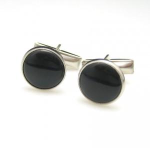 Art Deco Style Vintage Mens Cuff Links Mid Century Black Faux Onyx Silvertone Classic