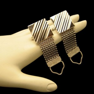 Mid Century Mesh Wrap Around Vintage Mens Cuff Links Silvertone Etched Stripes Design