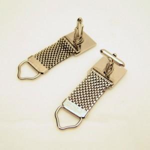Mid Century Mesh Wrap Around Vintage Mens Cuff Links Silvertone Etched Stripes Design