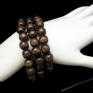 Mid Century Wood Beads 3 Strands Extra Wide Vintage Bracelet Stretch Warm Rich Brown Colors