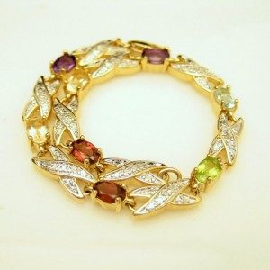 Glass Gemstones Vintage Bracelet Beaded Links Gold Silver Plated Very Pretty