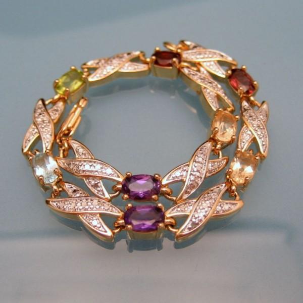 Gold Plated Silver Antique Beads: Glass Gemstones Vintage Bracelet Beaded Links Gold Silver