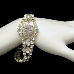 CZECH Glass Rhinestones Vintage Bracelet Mid Century NOS Bridal Beautiful Sparkling Stones