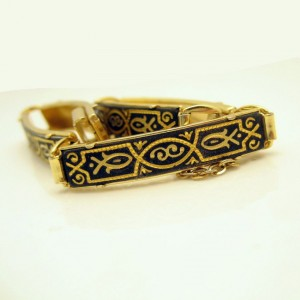 DAMASCENE Vintage Bracelet Mid Century Large Rectangle Fish Links Nice Detail