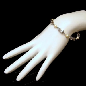 12K White Gold Filled Vintage Bracelet Mid Century Pearls Fluted Beads Corrugated