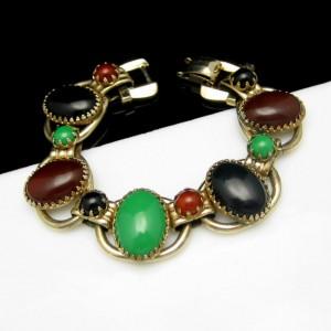 D&E Style Vintage Bracelet Mid Century 5 Open Links Red Green Black Acrylic Stones Chunky