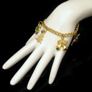 Vintage Christmas Charm Bracelet Mid Century Goldtone Rhinestones Tree Bells Bird Heart