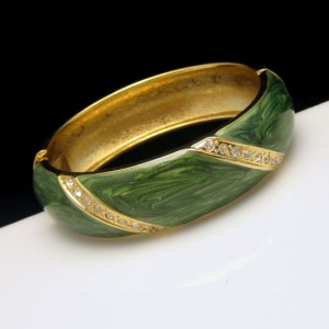 Mid Century Bangle Bracelet Green Enamel Rhinestones Wide Vintage Hinged Gold Plated
