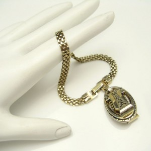 Vintage Mesh Bracelet Mid Century Engraved Charm Dangle Gold Plated Two Sided Unique
