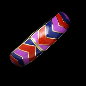 Vintage Bangle Bracelet Mid Century Red Purple Blue Enamel Stripes Wide Hinged High Quality