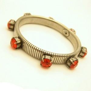 KIRKS FOLLY Vintage Bracelet Mid Century Large Orange Rhinestones Flex Bangle Band