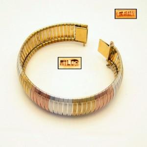MILOR ITALY Vintage Bracelet 925 Sterling Silver Tri Color Cubetto Wide Elegant