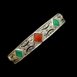 Vintage Bangle Bracelet Mid Century Faux Gemstones Marcasites Hinged Green Orange Black