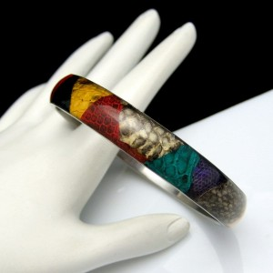 Vintage Lucite Bangle Bracelet Mid Century Patchwork Design Colorful Vinyl or Fabric Unique
