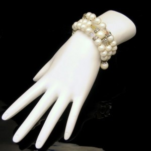 Vintage Bracelet Mid Century Faux Pearls AB Crystals Coil Wrap Statement Rhinestone Rondelles