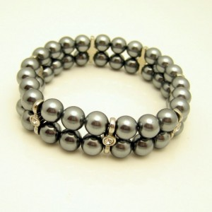 Vintage Gray Faux Pearls Bracelet Hematite Glass Beads Rhinestone 2 Rows Pretty