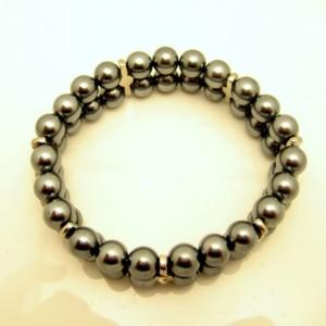 Vintage Gray Faux Pearls Bracelet Hematite Glass Beads Rhinestone 2 Rows Pretty