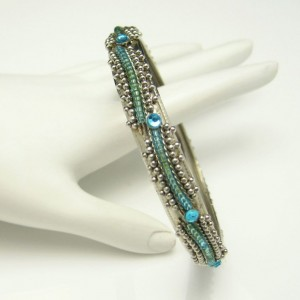 Vintage Bangle Bracelet Mid Century Aqua Rhinestones Green Glass Beads Silver Plated