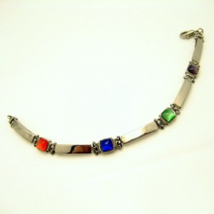 Vintage Boho Bracelet Mid Century Colored Art Glass Stones Long Panel Links Red Green Blue Purple